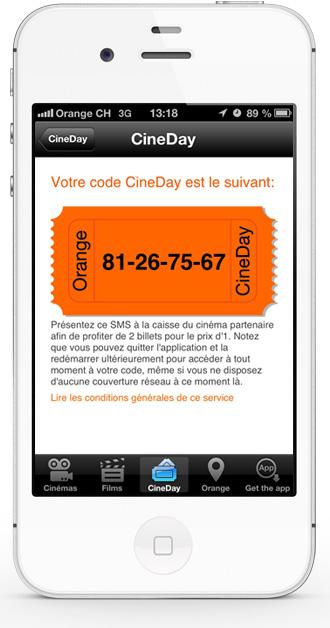 Mobile app CineDay - Cineday code screen