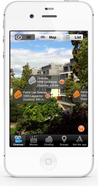 Mobile app CineDay - AR cinema list