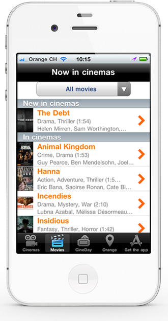 Mobile app CineDay - movie list screen