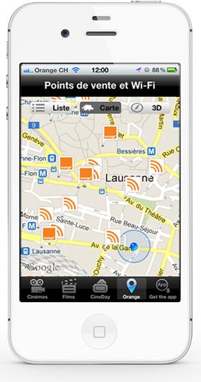 Mobile app CineDay - Map screen