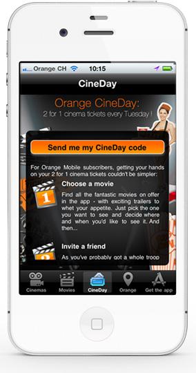 Mobile app cineday - discount screen