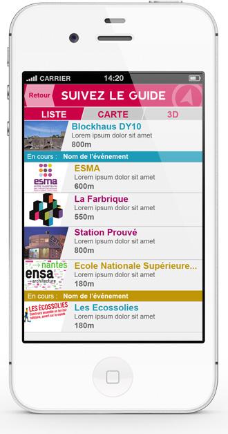 Mobile app Nantes Création - list view