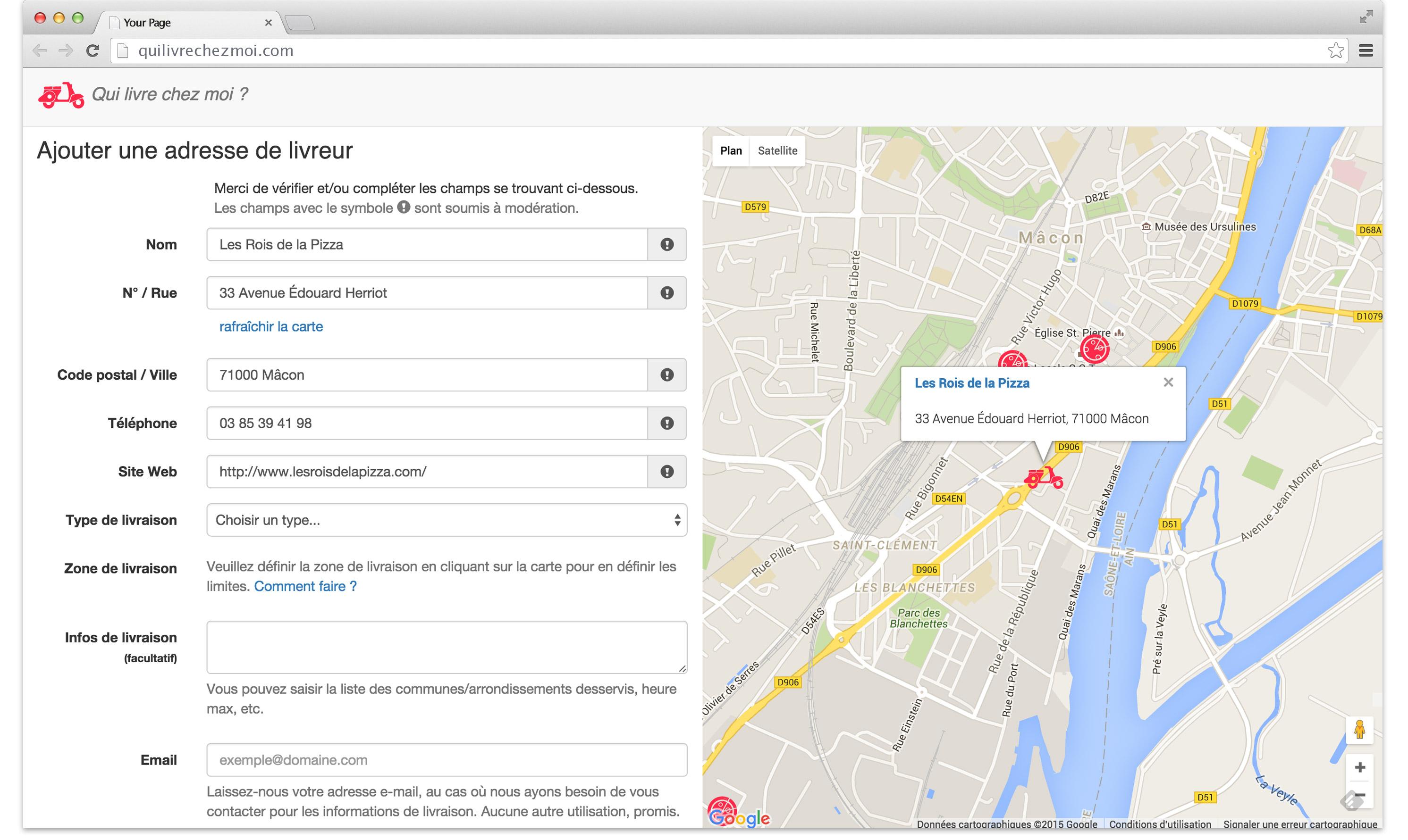 "web service ""Qui livre chez moi?"" - add deliver page"