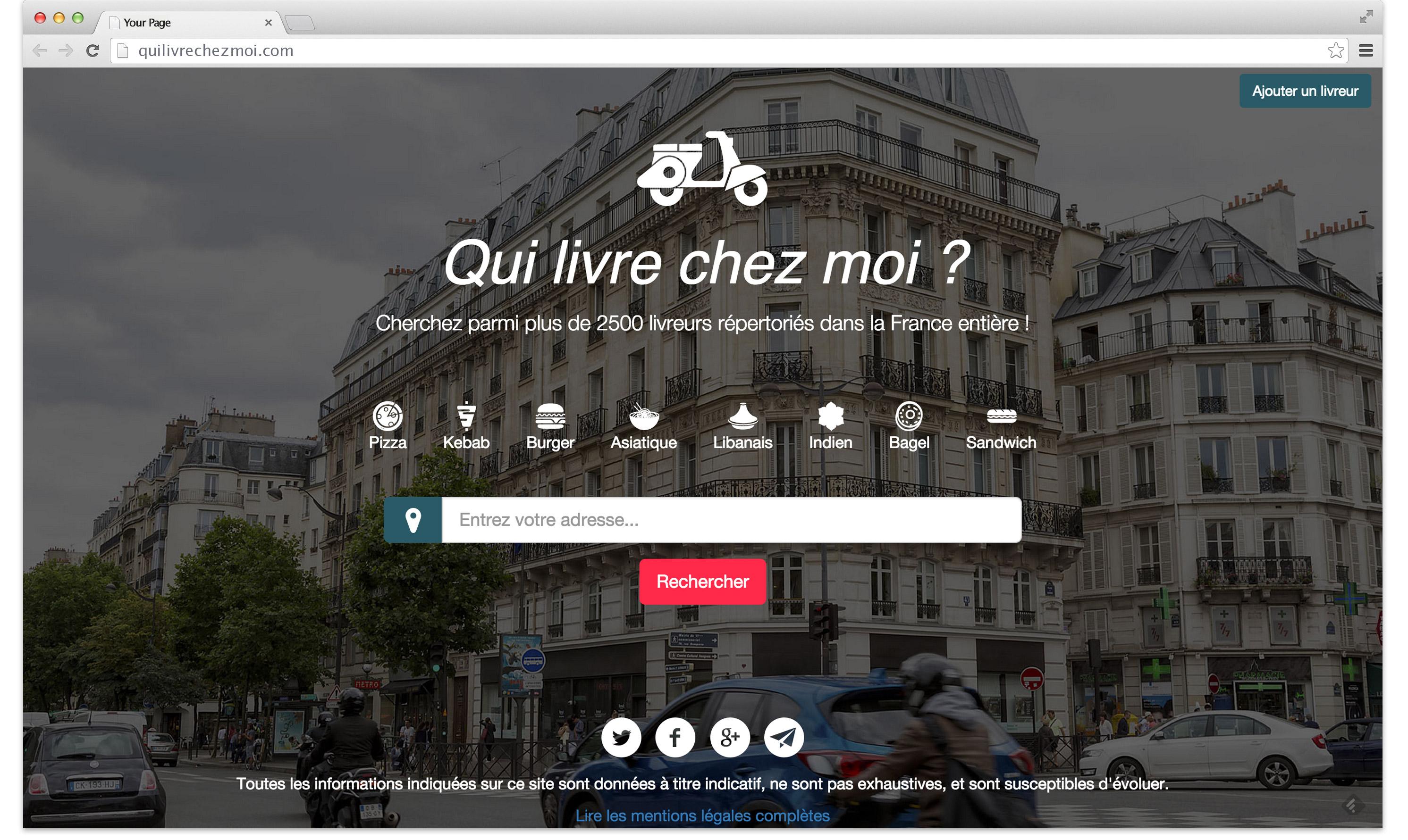 """Web service """"Qui livre chez moi?"""" - home page"""