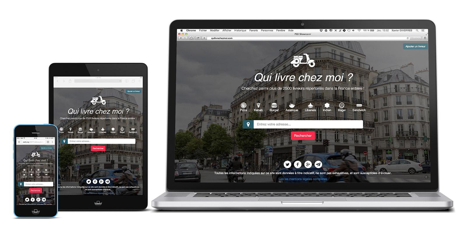 """Web service """"Qui livre chez moi?"""" on laptop, tablet, smartphone"""