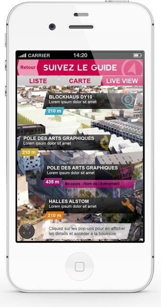 Mobile app Nantes Création - AR list view