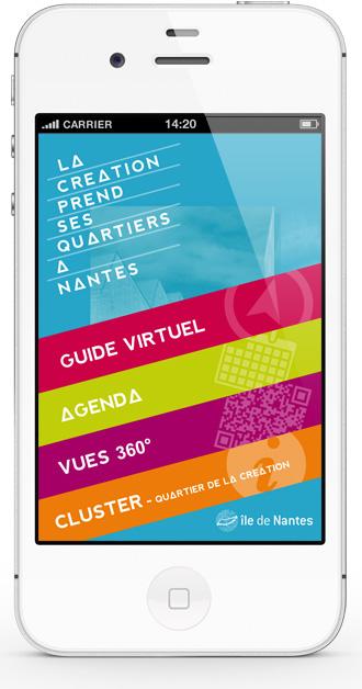 Mobile app Nantes Création - main menu