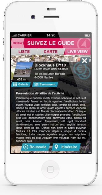 App mobile Nantes Création | écran de détail d'une activité