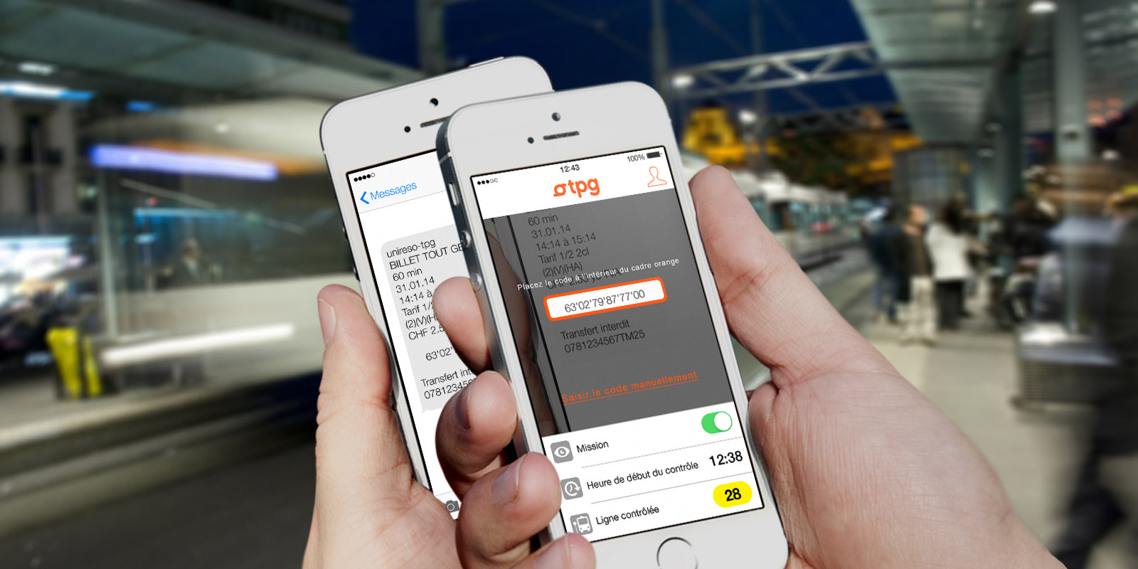 TPG - App mobile   scan du code SMS