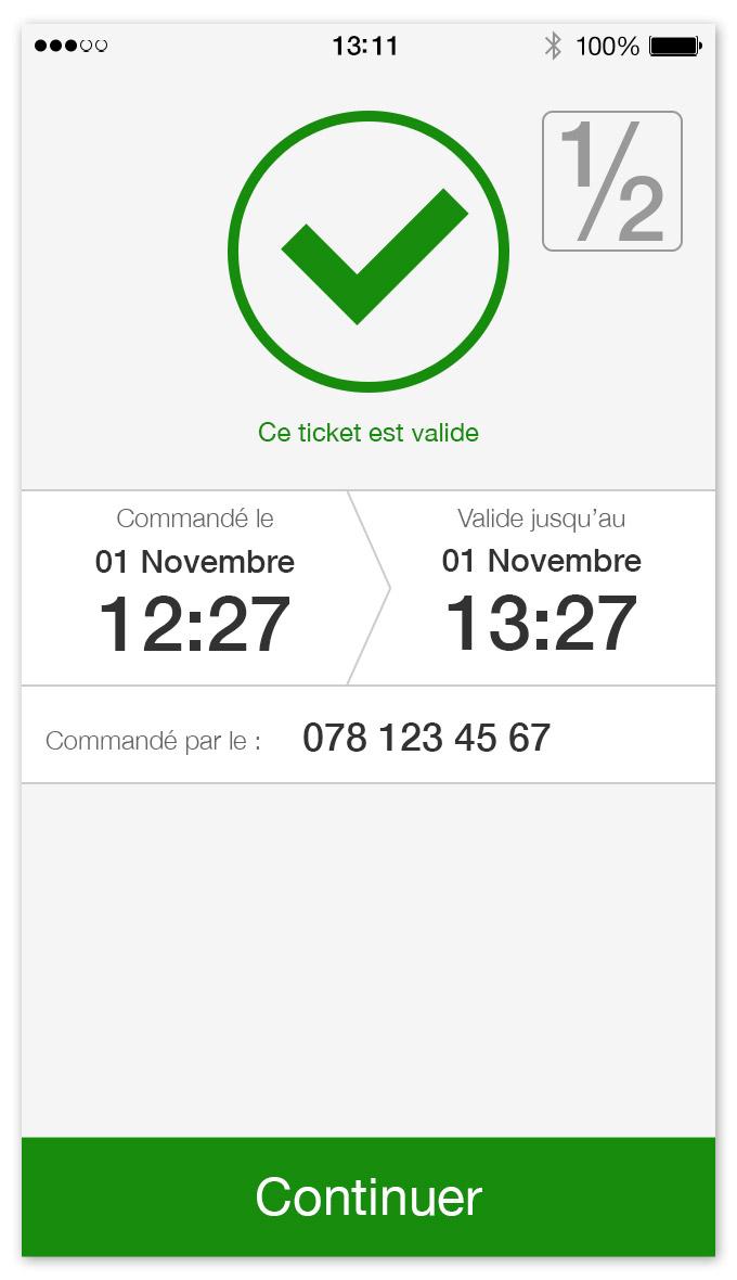 TPG - App mobile   écran pour un ticket valide