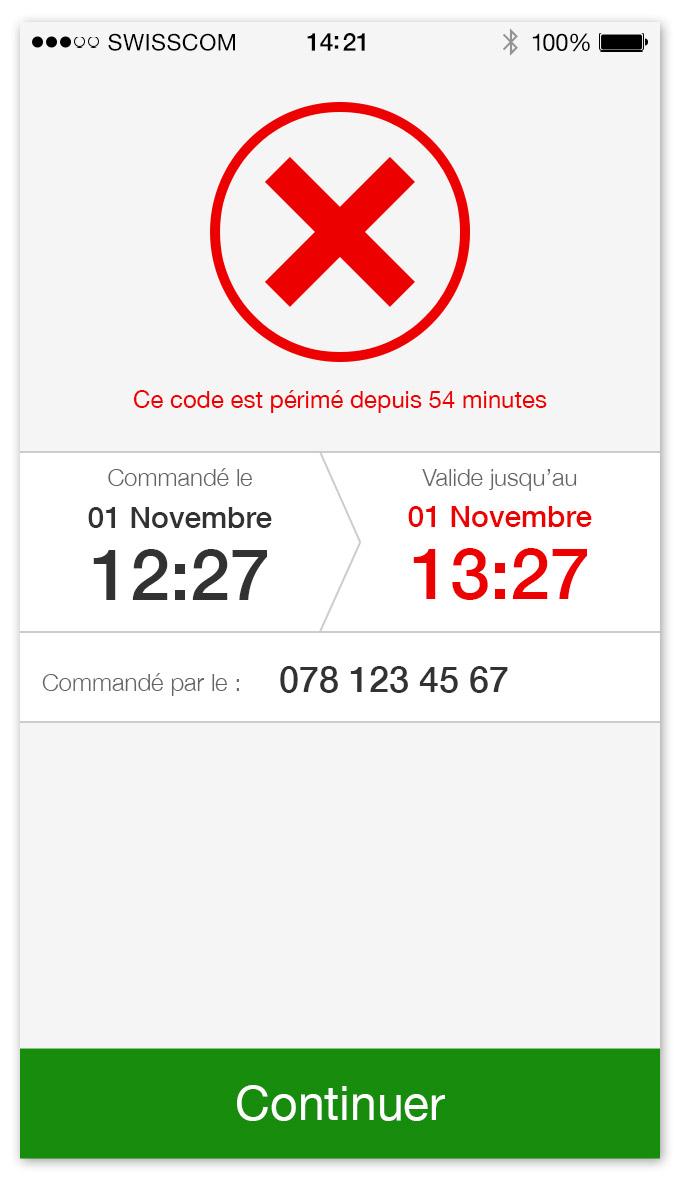 TPG - App mobile   écran pour un ticket périmé
