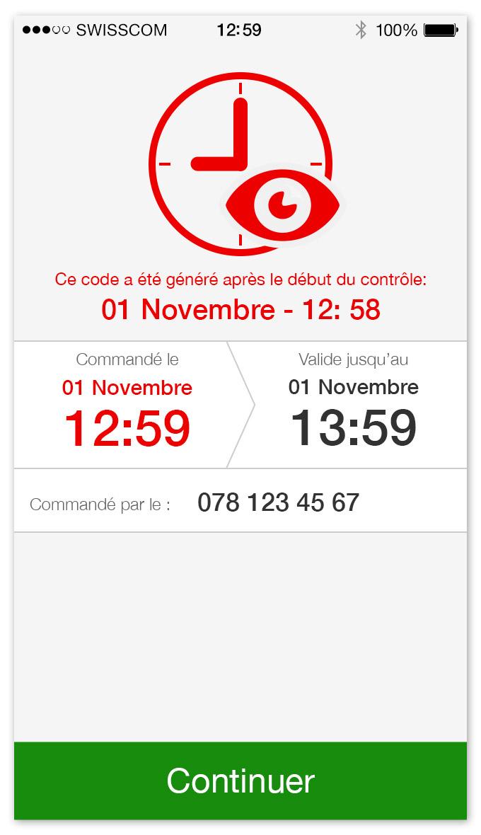 TPG - App mobile   écran pour un ticket commandé après le début du contrôle