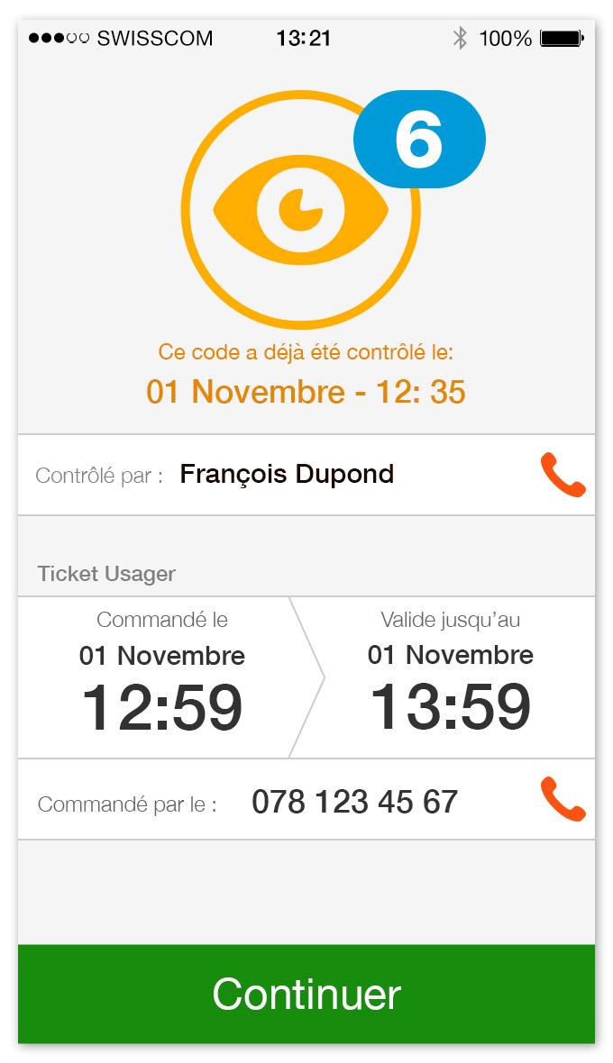 TPG - App mobile   écran pour un ticket déjà contrôlé