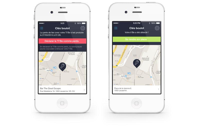 Ti'Be - App mobile | écran en cas de perte d'un porte-clé